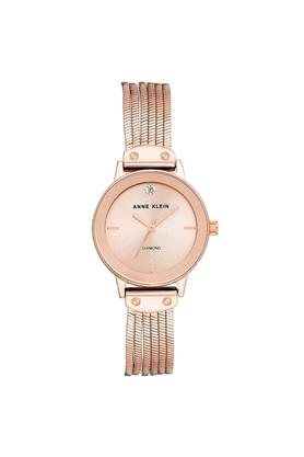 Womens Pink Dial Stainless Steel Analogue Watch - AK3220RGRG