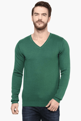 CELIO Mens Full Sleeves V Neck Straight Fit Solid Sweater - 201378993
