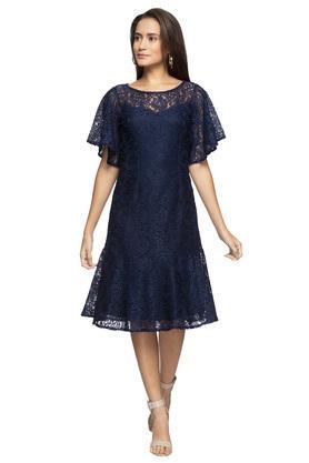 Womens Round Neck Sheer Yoke Lace Shift Dress