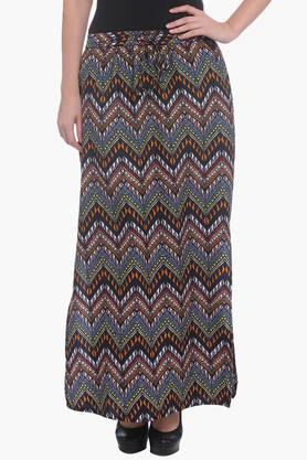 PURYS Womens Printed Long Skirt