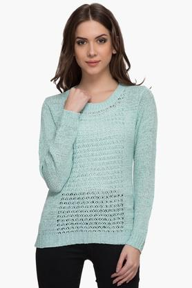 MARIE CLAIRE Womens Round Neck Solid Sweater