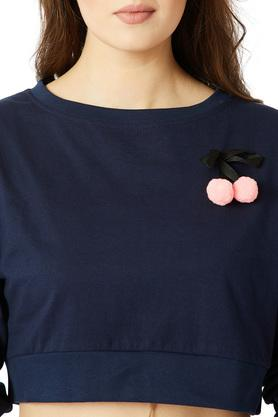 Womens Round Neck Pompom and Twill Tape Detailing Crop Top