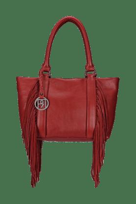 Womens Leather Zipper Closure Tote Bag