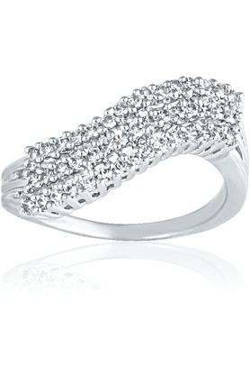 MAHI Mahi Rhodium Plated Bright Array Ring With CZ Stones For Women FR1100438R