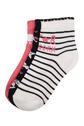 Girls Printed and Striped Socks - Pack of 3
