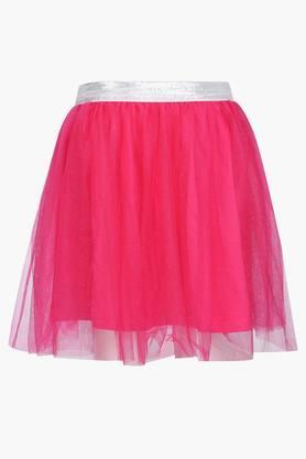 Girls Solid Layered Skirt