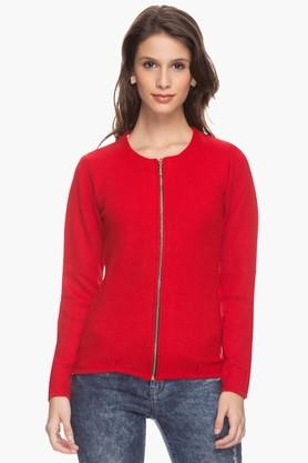 ONER Womens Round Neck Solid Jacket