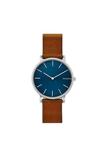 Mens Blue Dial Leather Analogue Watch - SKW6446