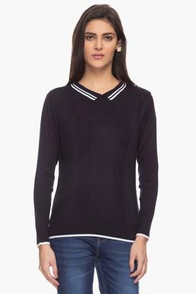 STOP Womens Collar Neck Striped Sweater