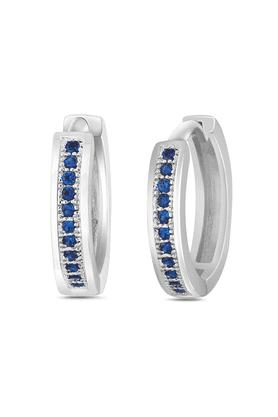 MAHIMahi Rhodium Plated Big Single Line Blue CZ Stone Huggies Hoops Earrings For Women ER1109316R