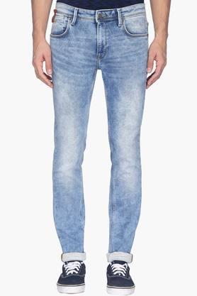INDIAN TERRAINMens 5 Pocket Slim Fit Stone Wash Jeans (Brooklyn Fit)