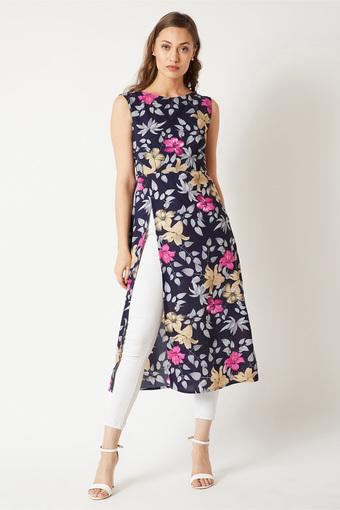 Womens Round Neck Floral Print Maxi Top