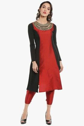 IRA SOLEIL Womens Round Neck Colour Block Embroidered Kurta