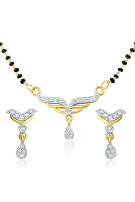 MAHI Mahi Gold Plated Holy Token Mangalsutra Set With CZ For Women NL1106004G