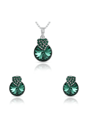 MAHI Mahi Rhodium Plated Green Swarovski Elements Pendant Set For Women NL1104089R