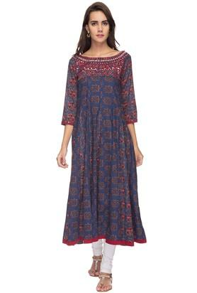 STOP Womens Boat Neck Printed Embroidered Anarkali Kurta