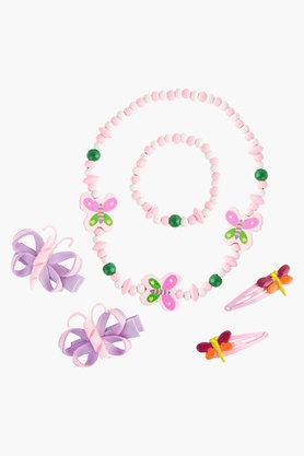 Girls Printed Hair Accessories, Wooden Necklace and Bracelet Set of 6 (2 - 6 Years)