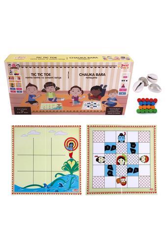 2 In 1 Tic Tac Toe and Chauka Bara Strategy Board Game