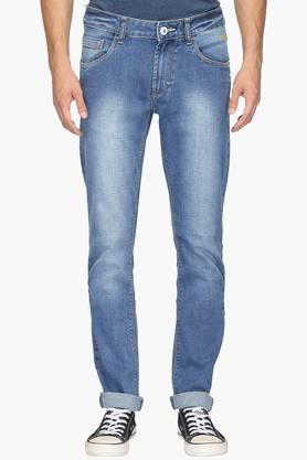 FLYING MACHINE Mens Tapered Fit 5 Pocket Heavy Wash Jeans (Micheal Fit) - 202045561