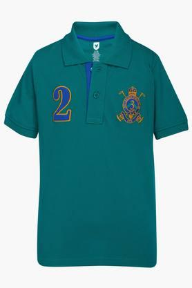 Boys Cotton Solid Polo Tee