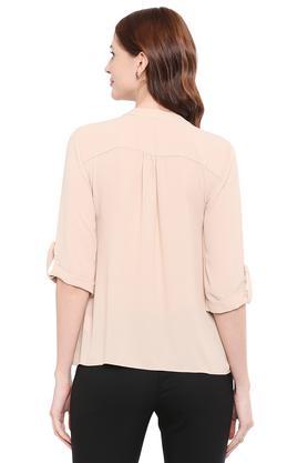 Womens Mandarin Collar Solid Shirt