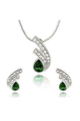 MAHI Mahi Rhodium Plated Green Drop Peacock Feather Pendant Set Made With Swarovski Elements For Women NL1104106RGre