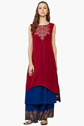 GLOBAL DESI Women's Embroidered Kurta Palazzo Set