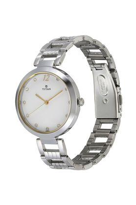 Womens Sparkle White Dial Stainless Steel Analogue Watch - 2480SM09