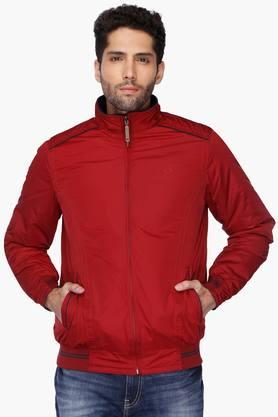 ALLEN SOLLY Mens Zip Through Neck Solid Reversible Jacket