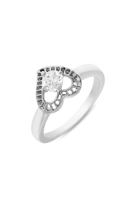 MAHI Mahi Rhodium Plated Stylized Heart Fingerring Made With Swarovski Zirconia For Women FR1105019R