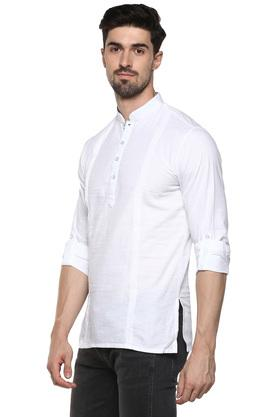 Mens Mandarin Collar Solid Short Kurta