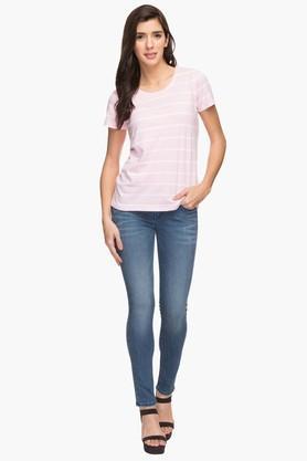 Womens 5 Pocket Mild Wash Whiskered Jeans