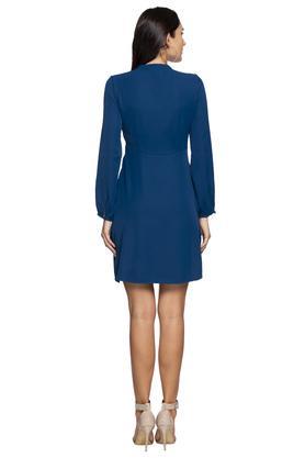 Womens Mandarin Collar Solid Skater Dress
