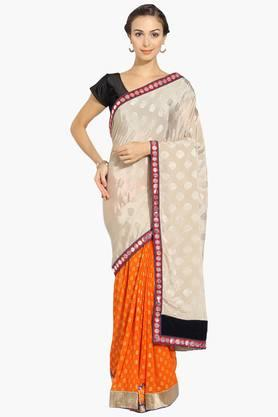 Womens Georgette Colour Block Embroidered Saree With Blouse Piece