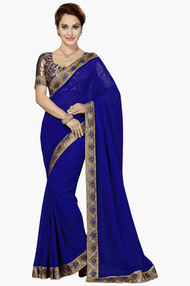 Womens Solid Saree (Buy any Demarca product & get a pair of matching earrings free)
