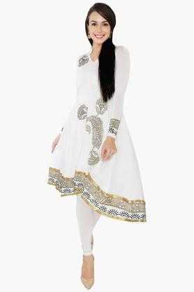 IRA SOLEIL Women Gold Print Anarkali Kurta (Funky Earrings - Free On Every Order)
