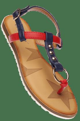 STOPWomens Red Pearl Ankle Closure Flat Sandal