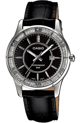 CASIO Enticer - Leather Strap Watch With Black Round Dial