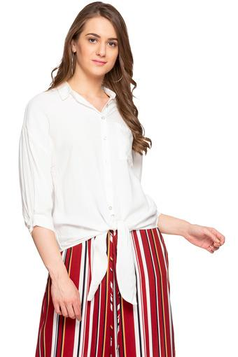 Womens Solid Casual Tie Up Shirt