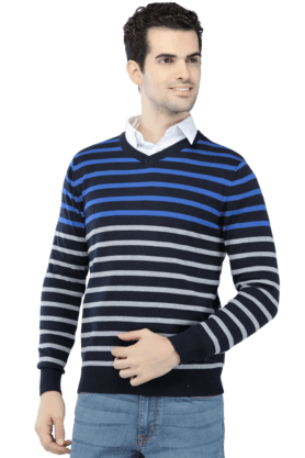 LOUIS PHILIPPE Mens Full Sleeves V Neck Slim Fit Stripe Sweater