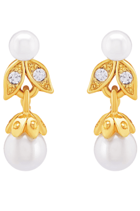 OVIYA Gold Plated Dyanamic Earrings With Crystals & Artificial Pearl For Women ER2193077G (Use Code FB15 To Get 15% Off On Purchase Of Rs.1200)