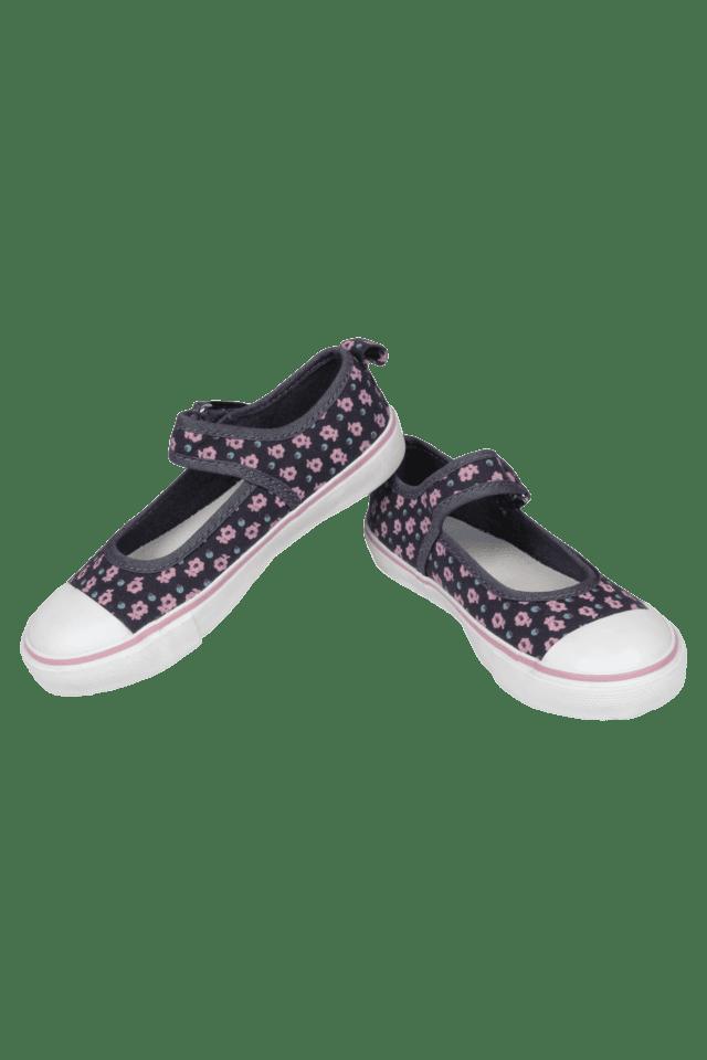 Girls Daily Wear Velcro Closure Canvas Ballerina Shoe