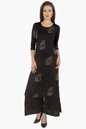 IRA SOLEIL Womens Printed Kurta And Palazzo Set (Buy Any Ira Soleil Product And Get A Charms Bracelet Free)