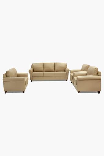 Brunette Ivory Leatherette Sofa (3-2-1-1 Sofa Set)