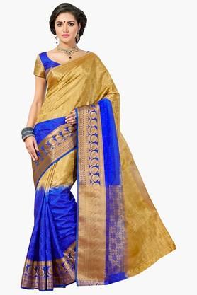 ASHIKAWomens Colour Block Gold Weave Jacquard Saree - 201790748