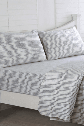 MASPAR Ethereal Spaces Undulating Print Grey Cotton King Size Bed Sheet