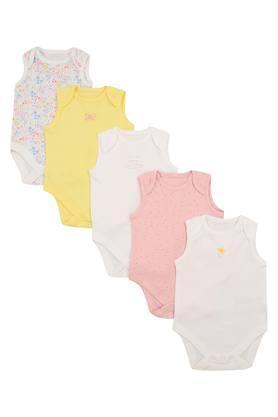 Kids Envelope Neck Floral Print Solid and Dot Pattern Babysuit - Pack of 5