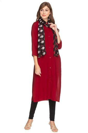 Womens Solid Kurta with Scarf