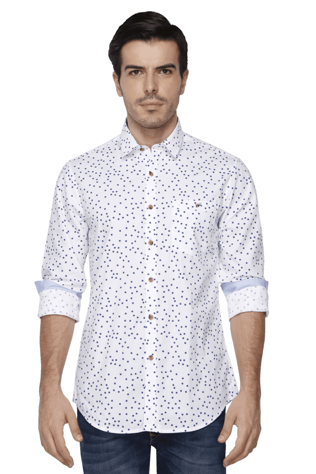 Mens Full Sleeves Slim Fit Printed Casual Shirt