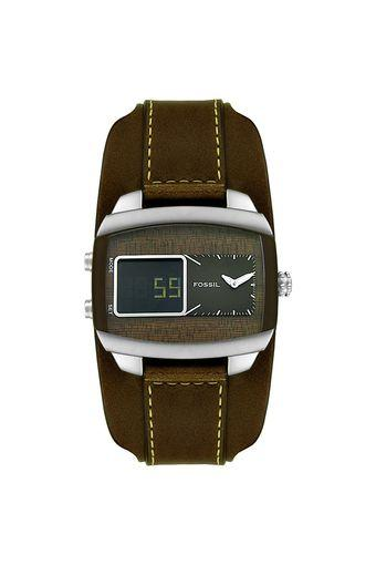 Mens Brown Dial Leather Analogue-Digital Watch - JR9633